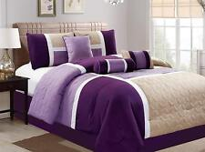 7 Piece Luxury Quilted Patchwork Comforter Set,bed in bag California King,Purple