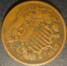 1867 US Copper Two Cent Piece - Post Civil War Era -