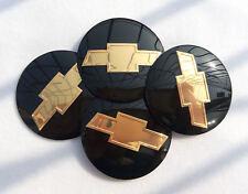 4pcs 56mm Black Wheels Center Hub Cap Emblem Badge Alloy Decal Sticker For Chevy