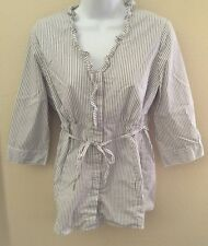 Motherhood Maternity Blouse Size S White With Gray Stripes 3/4 Sleeves