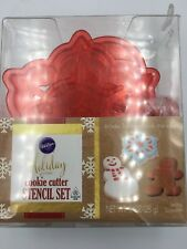 Wilton Holiday Cookie Cutter Stencil Set 3 Pieces Christmas Icing Snowflake Man