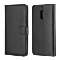 Luxury Genuine Leather Flip Stand Case Wallet Cover For Nokia 6