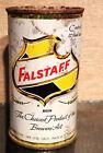 1954 1 SIDED FALSTAFF STEEL FLAT TOP  BEER CAN SAN JOSE CALI 6 CITY CHURCHKEY