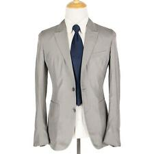NWOT Zegna Couture Silver 100% Silk Side Tabs Unstructured Shantung Suit 36RUS