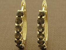 E083-Genuine 9ct Solid Gold NATURAL Smokey Quartz HUGGIE Earrings Brown Hoops