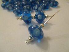 27 ~ 18X10mm Trans Blue Bubbles Lampwork Glass Focal Beads 1/4 Lb DBA