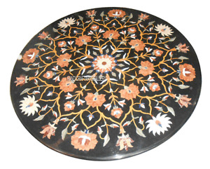 """24"""" Black Marble Coffee Top Table Carnelian Mosaic Floral Inlay Art Decors H945A"""
