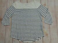 Chicos The Ultimate Tee Women's Size Large 12 Striped Pullover Shirt Top Navy