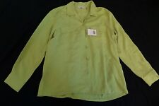 New Women's Lady Hathaway 100% Silk Green Button-Up Camp Shirt Size Medium