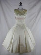 Vtg 50s 60s Eloise Curtis Designer Ivory Pink Full Skirt Wedding Party Dress W26