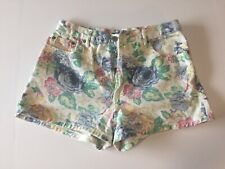 Vintage 90's Bongo High Waisted White Floral Denim Jean Shorts Junior Size 13