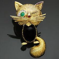 VAN CLEEF & ARPELS Chat Malicieux Diamond Emerald Onyx Winking Cat Brooch 1950s