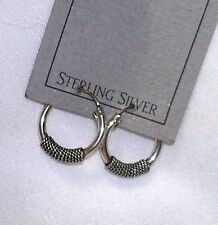 """STERLING SILVER 12mm (5/16"""") CONTINUOUS HOOP EARRINGS WITH ROPE ACCENT NEW"""