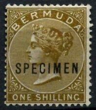 Bermuda 1883-1904 SG#29b 1s Olive Brown QV MH Optd Specimen #D56659