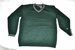 Men's UNDEFEATED V Neck Sweater Green and White size M $68