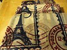 Peva vinyl Paris postage Stamps Eiffel Tower blue burgundy Shower Curtain Hooks