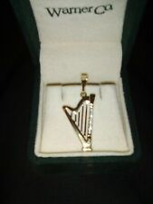 14k gold HARP pendant charm with 8 diamonds