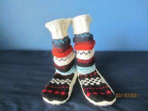 Tibetan Socks Ankle High Hand Knitted Wool Lined Slipper Sock  Sz M