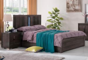 Lamour Dark Oak Wooden Color DOUBLE Bed LED Lighting 4 Drawer Frame
