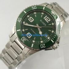 40mm Bliger Green Self Winding Mens Automat Watch Sapphire Glass Rotaitng Bezel