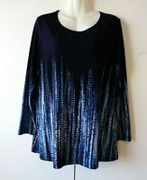 WOMEN'S SUSAN GRAVER NAVY BLUE WITH DESIGN LIQUID KNIT STRETCHY TUNIC TOP SIZE M