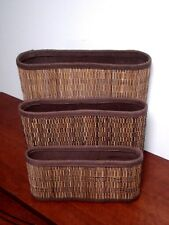 bamboo/ Wicker 4 Section Mail/Letter/magizineHome Office Organizer-Desktop 3pc