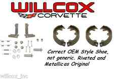 65-82 CORVETTE Parking Brake Shoe and Hardware Kit..Correct style shoes w/Rivets