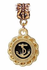 Anchor Sailing Gold Tone Beach Boating Black Dangle Charm for European Bracelets