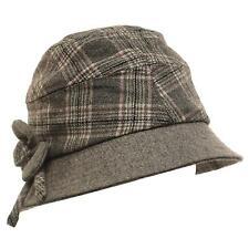 Winter Scottish Plaid Ribbon Bow Crushable Bucket Cloche Flower Hat Cap Gray M
