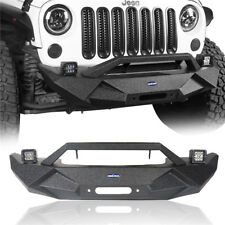 Front Bumper w/ 2x LED Lights & Winch Plate Steel For Jeep Wrangler JK 2007-2018
