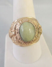 Vintage UNITED STATES NAVY JADEITE STONE CABOCHON GOLD FILLED RING Sz 10