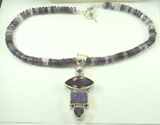 Statement Amethyst Necklace with Druzy & Pearl Sterling Silver Handcrafted