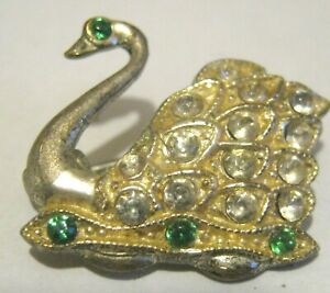 Lovely vintage small swan brooch sliver tone metal white & green stones 1 ins