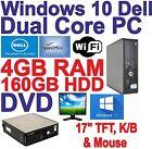 Windows 10 Dell Dual Core 2x3.00GHz Desktop PC Computers - 4GB RAM - 160GB HDD