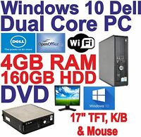 Windows 10 Dell Dual Core 2x3.00GHz  Desktop PC Computers - 4GB RAM - 160GB HDD