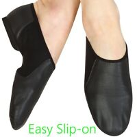 JAZZ DANCE SLIP ON SHOES Black Leather split irish ballet leotard sole UNISEX CC