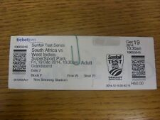 19/12/2014 Cricket Ticket: South Africa v West Indies [At SuperSport Park].  Tha