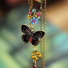 Vintage Butterfly Colorful Flowers Long Pendant Necklace Enamel Sweater Chain