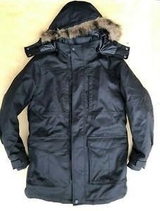 Eddie Bauer Superior Polar Parka Black Fur Goose Down Coat Jacket S