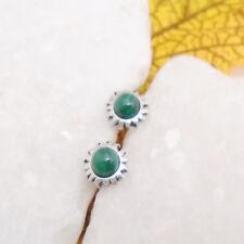 Malachit rund grün Stern Blüte edel Ohrringe Ohrstecker 925 Sterling Silber neu