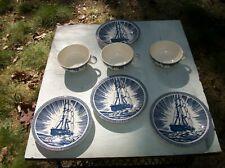 Vintage Vernon Kilns Moby Dick 3 Coffee Teacups and 4 Saucers