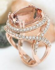 Luxury Jewelry Women Rose Gold Plated Morganite Engagement Ring Jewelry Sz 6-10