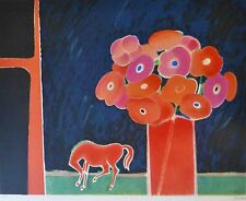 "ALBERT ZAVARO ""Horse and red bouquet"" HAND SIGNED NUMBERED LITHOGRAPH"