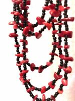 Draped Red & Black Beads Long Over-the-Head No Clasp Necklace Handcrafted BoHo