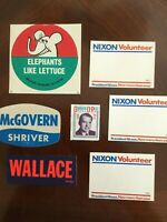 Lot of 7 VINTAGE political decal stickers 1960s-70s Nixon Wallace McGovern