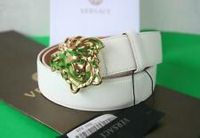 Authentic Versace Classic White Leather Gold Medusa Buckle Belt