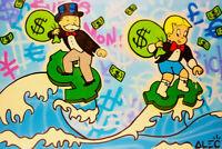 "Alec Monopoly Oil Painting on Canvas Graffiti art decor Surfing Money  28x40"""