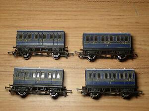 Rake of 4 Hornby 00 Gauge 4 Wheel Caledonian Blue Coaches  Lot G46