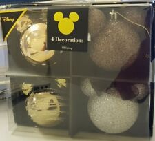 New Disney Mickey Minnie Mouse Brown Glittery Pack of 4 Decorations Primark