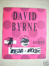David Byrne Unused 1989 Backstage Pass Talking Heads